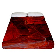 Swirly Love In Deep Red Fitted Sheet (california King Size) by designworld65