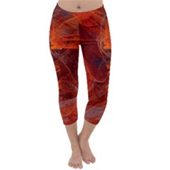 Swirly Love In Deep Red Capri Winter Leggings  by designworld65