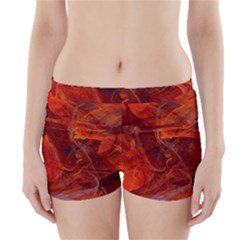 Swirly Love In Deep Red Boyleg Bikini Wrap Bottoms by designworld65