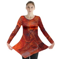 Swirly Love In Deep Red Long Sleeve Tunic  by designworld65