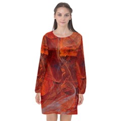 Swirly Love In Deep Red Long Sleeve Chiffon Shift Dress