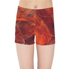Swirly Love In Deep Red Kids Sports Shorts