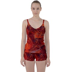 Swirly Love In Deep Red Tie Front Two Piece Tankini