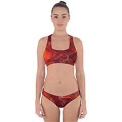Swirly Love In Deep Red Cross Back Hipster Bikini Set