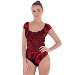 Metallic Red Rose Short Sleeve Leotard