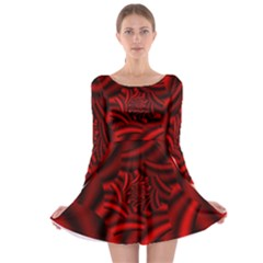 Metallic Red Rose Long Sleeve Skater Dress