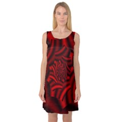 Metallic Red Rose Sleeveless Satin Nightdress
