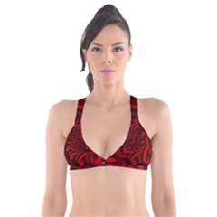 Metallic Red Rose Plunge Bikini Top