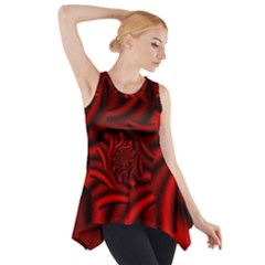 Metallic Red Rose Side Drop Tank Tunic