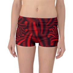 Metallic Red Rose Reversible Boyleg Bikini Bottoms