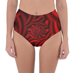 Metallic Red Rose Reversible High Waist Bikini Bottoms