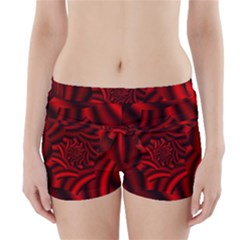 Metallic Red Rose Boyleg Bikini Wrap Bottoms