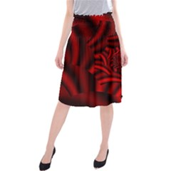 Metallic Red Rose Midi Beach Skirt