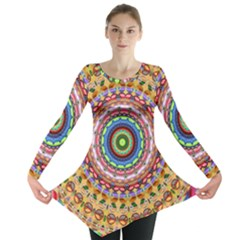 Peaceful Mandala Long Sleeve Tunic  by designworld65