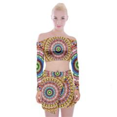Peaceful Mandala Off Shoulder Top With Skirt Set by designworld65