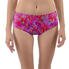 The Big Pink Party Reversible Mid Waist Bikini Bottoms by designworld65