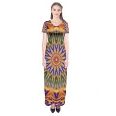 Powerful Mandala Short Sleeve Maxi Dress