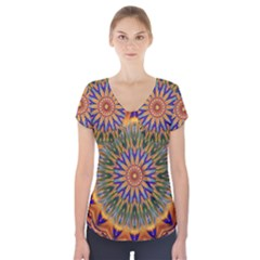 Powerful Mandala Short Sleeve Front Detail Top by designworld65