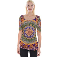 Powerful Mandala Wide Neckline Tee