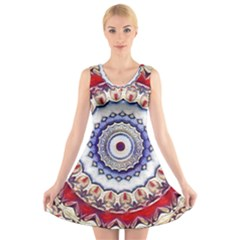 Romantic Dreams Mandala V Neck Sleeveless Skater Dress by designworld65