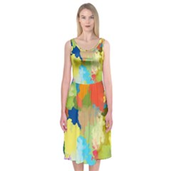 Summer Feeling Splash Midi Sleeveless Dress by designworld65