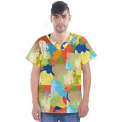 Summer Feeling Splash Men s V Neck Scrub Top by designworld65
