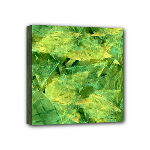 Green Springtime Leafs Mini Canvas 4  X 4  by designworld65