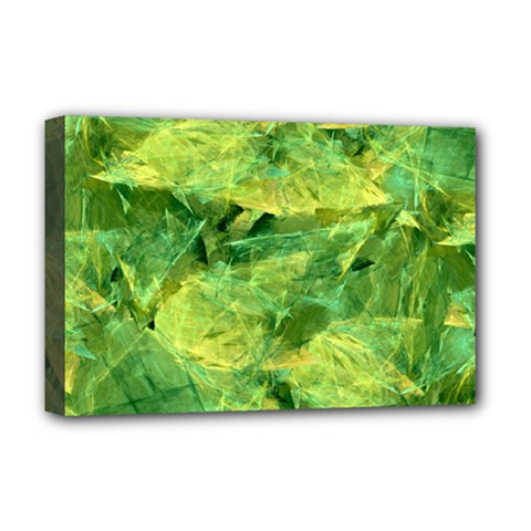 Green Springtime Leafs Deluxe Canvas 18  X 12   by designworld65