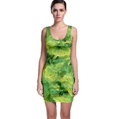 Green Springtime Leafs Bodycon Dress by designworld65