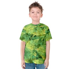 Green Springtime Leafs Kids  Cotton Tee by designworld65