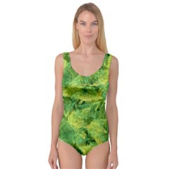 Green Springtime Leafs Princess Tank Leotard  by designworld65