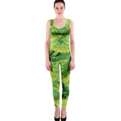 Green Springtime Leafs Onepiece Catsuit by designworld65