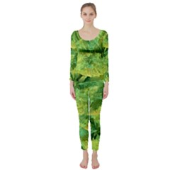 Green Springtime Leafs Long Sleeve Catsuit by designworld65