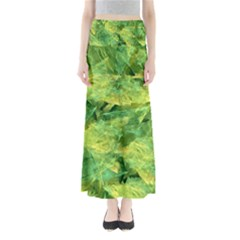 Green Springtime Leafs Full Length Maxi Skirt by designworld65