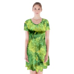 Green Springtime Leafs Short Sleeve V Neck Flare Dress by designworld65