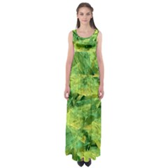 Green Springtime Leafs Empire Waist Maxi Dress by designworld65