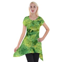 Green Springtime Leafs Short Sleeve Side Drop Tunic by designworld65