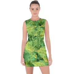 Green Springtime Leafs Lace Up Front Bodycon Dress by designworld65