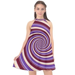 Woven Spiral Halter Neckline Chiffon Dress  by designworld65