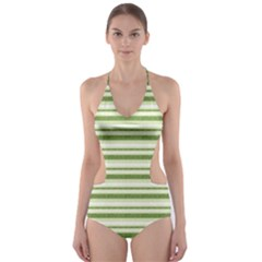 Spring Stripes Cut Out One Piece Swimsuit