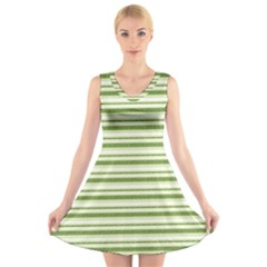 Spring Stripes V Neck Sleeveless Skater Dress