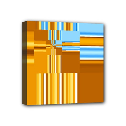 Endless Window Blue Gold Mini Canvas 4  X 4  by designworld65