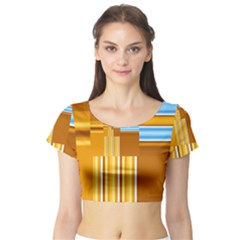 Endless Window Blue Gold Short Sleeve Crop Top (tight Fit) by designworld65