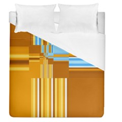 Endless Window Blue Gold Duvet Cover (queen Size) by designworld65