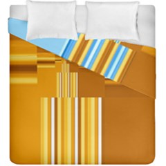 Endless Window Blue Gold Duvet Cover Double Side (king Size) by designworld65