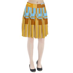 Endless Window Blue Gold Pleated Skirt by designworld65