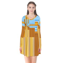 Endless Window Blue Gold Flare Dress