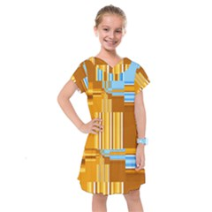 Endless Window Blue Gold Kids  Drop Waist Dress