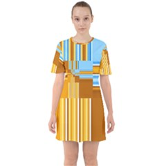 Endless Window Blue Gold Mini Dress