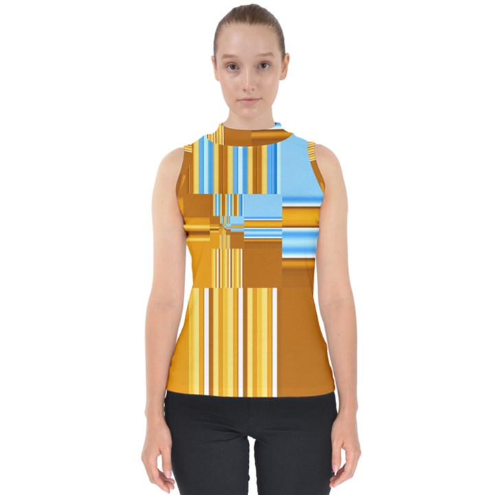 Endless Window Blue Gold Shell Top
